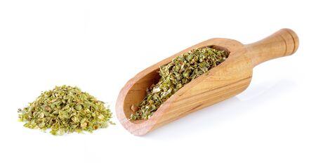 oregano: Dried Oregano on white background Stock Photo