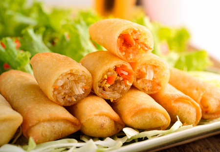 fried food: Fried Chinese Traditional Spring rolls food Stock Photo