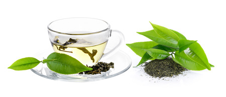 rooibos: cup of green tea on white background