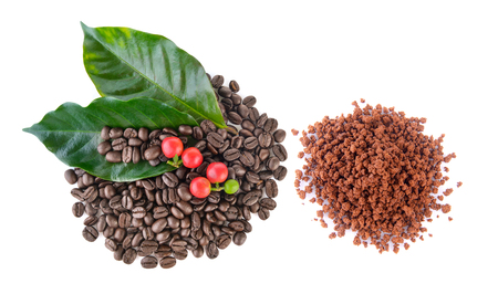 coffee grains. instant coffee and leaves on white background