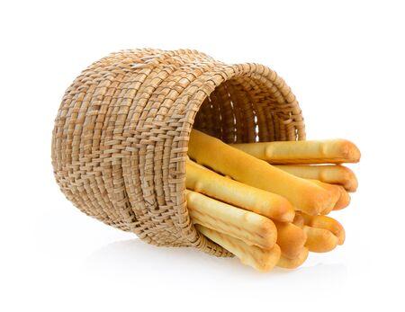 gressins: pain, bâtons, panier, isolé, blanc, fond
