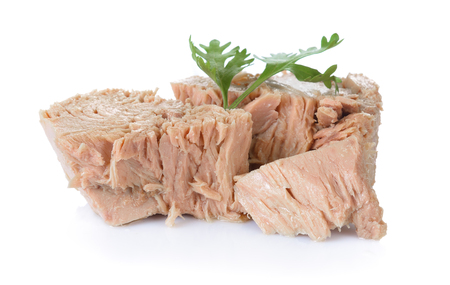 Canned tuna on white background Stock Photo