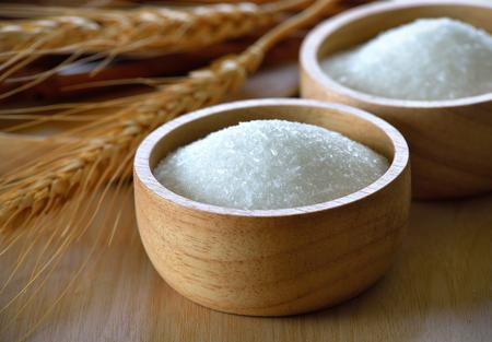 glutamate: Monosodium Glutamate in wood bowl
