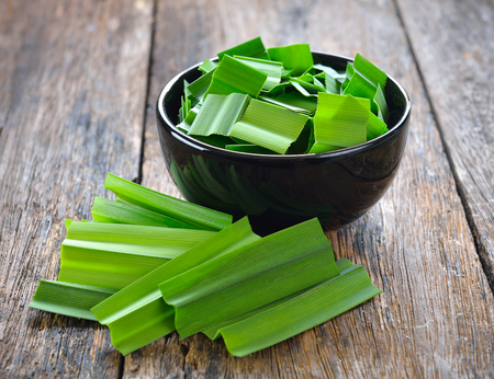 Pandan in a cup on wood