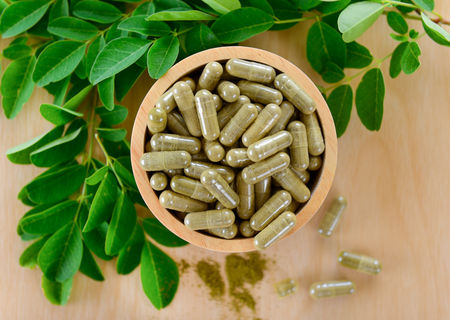 laxatives: Moringa leaves and capsules (Herbs for health)