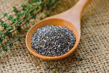 Chia seeds in wood spoon