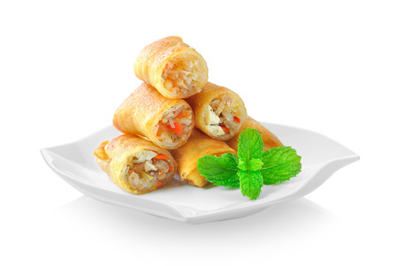 Fried Chinese Traditional Spring rolls food in ceramic plate on white background