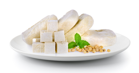 tofu soy and mint in plate isolated on a white background