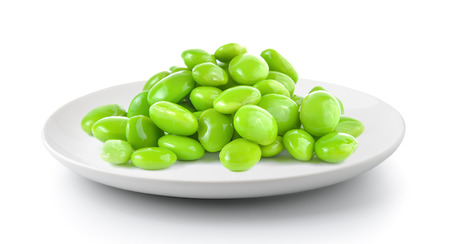 soy beans in a plate isolated on a white background