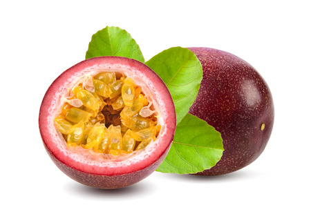 sweet passionfruits isolated on white background Foto de archivo