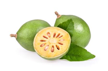 Bael fruit on white background