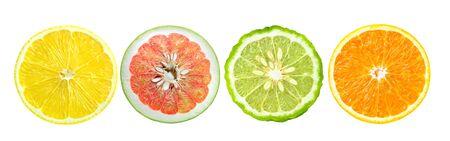 Citrus fruit. Orange, lemon, bergamot. Slices isolated on white background