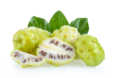 Noni fruit on white background Stockfoto