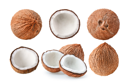 set of coconut on white background Stock Photo