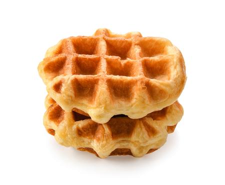 waffles isolated on white background. 스톡 콘텐츠