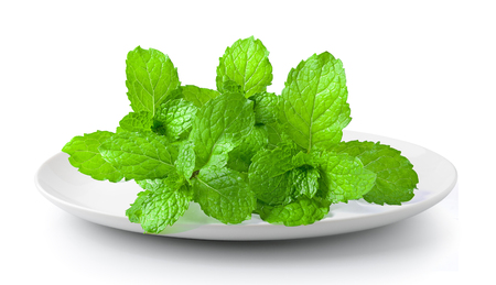 mint leaf in a plate isolated on a white background Stock Photo