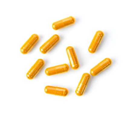 Turmeric Capsule on white background