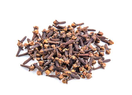 cloves spices on white background top view