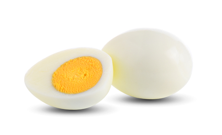 boiled egg on white background Фото со стока