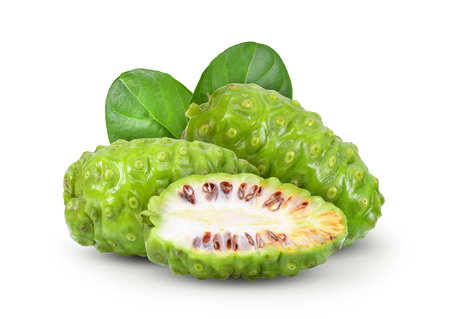 Noni with leaf on white background