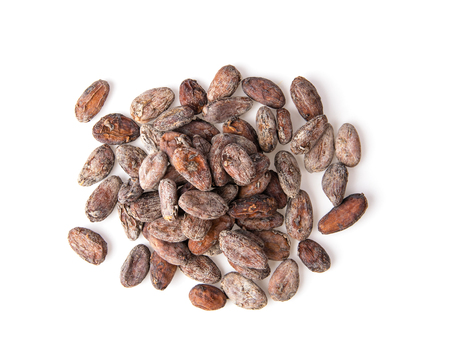 Pile of cocoa beans isolated on white background