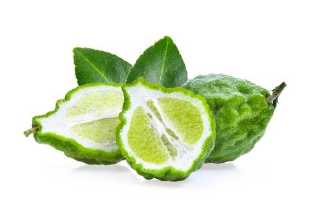 bergamot fruit with leaf isolated on white background Stock Photo