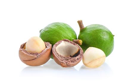 macadamia nuts isolated on white background. Stock Photo