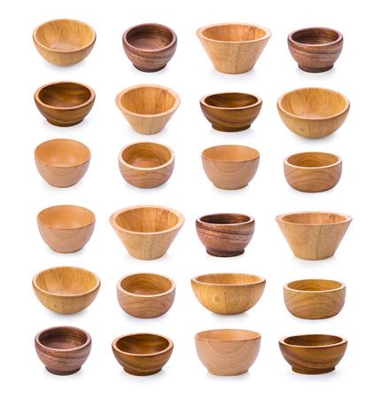wood bowl on white background Stock Photo