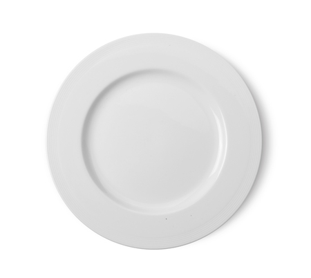 white plate on white background. top view