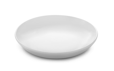 Beautiful shape ceramic plate on white background Imagens