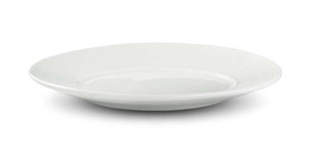 empty white plate on white background Imagens