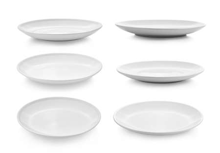 white ceramic plate on white background Stockfoto