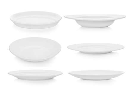 set of empty plate on white background