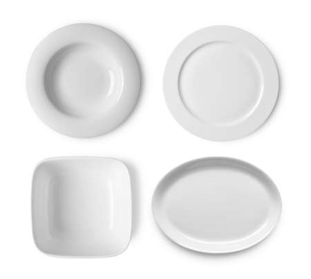 set of white bowl on white background