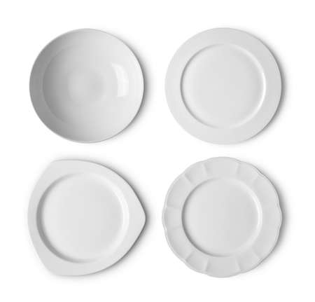 set of white ceramic plate on white background. top view Stock fotó - 157793012