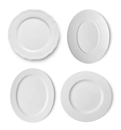 set of plate on white background top view