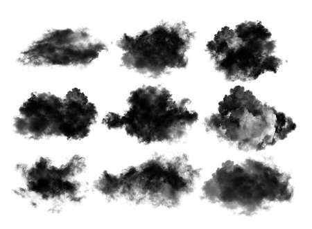 black cloud or smoke on white background Imagens