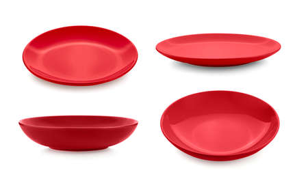 set of red plate on white background Imagens