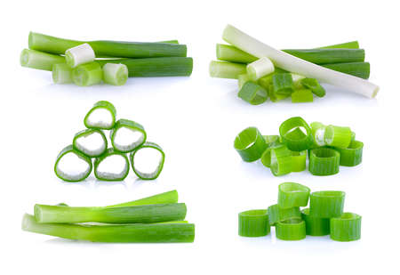 green onion slice on white background