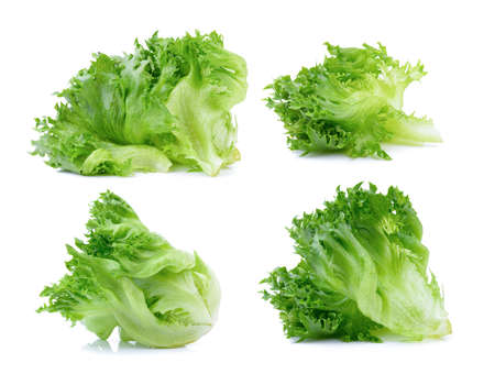 set of fresh lettuce leaves isolated on white background Imagens