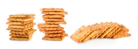 stack of butter biscuits on white background Imagens
