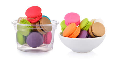 macaroons or macaron in the bowl on white background