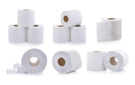 set of toilet paper on white background Banque d'images