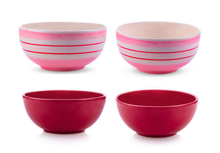 set of ceramic bowl isolated on white background