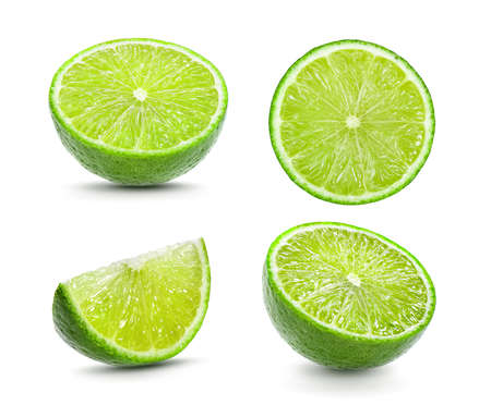 Juicy slice of lime isolated on white background Banque d'images