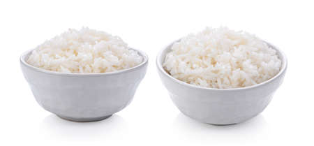 jasmine Rice in a bowl on white background Imagens