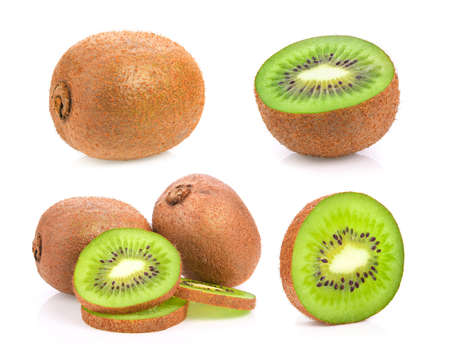 fresh kiwi fruit on white background Imagens