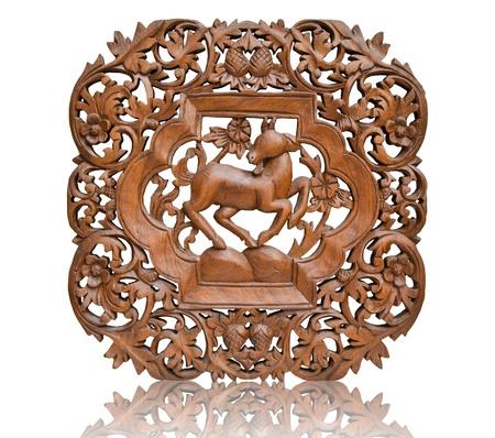 Pattern Thai art carving on wood, goat  Banco de Imagens