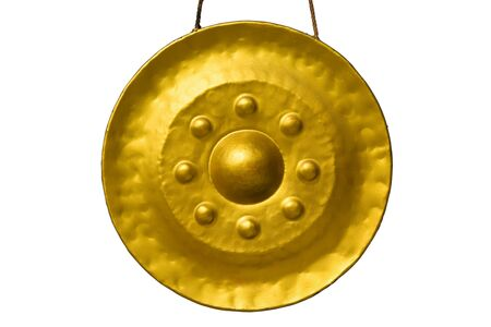 exotic gleam: Golden gong in temple at Thailand  Stock Photo