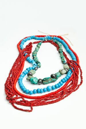 Handmade natural turquoise and coral necklace photo